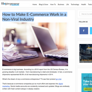 How to Make E-Commerce Work in a Non-Viral Industry